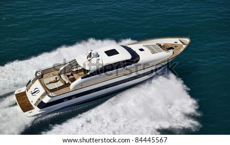 Italy, Tyrrhenian Sea, off the coast of Viareggio (Tuscany), Tecnomar 26 luxury yacht, aerial view