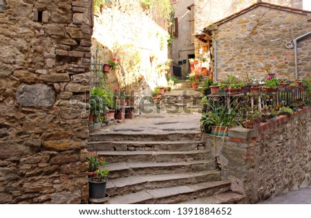 Italy, Umbria: Antique stairway in the small village of Passignano. #1391884652