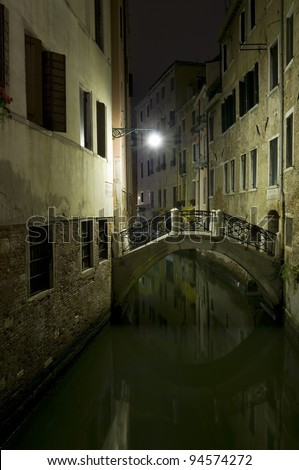 Italy, Venice: Canal by night