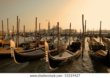 Italy. Venice. View on Grand Canal with gondolas