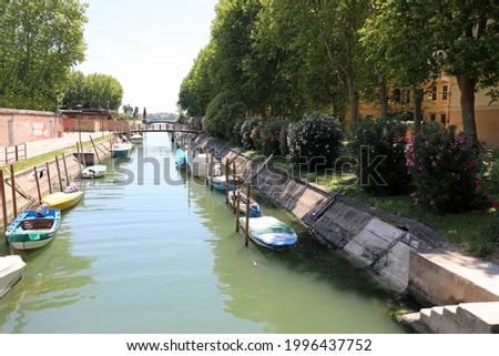 Italy Venice waterway with many boats in the island of Sant Elena near the stadium Stok fotoğraf ©