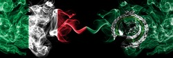 Italy vs Arab League smoky mystic flags placed side by side. Thick colored silky abstract smoke flags of Italian and Arab League