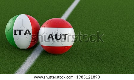 Italy vs. Austria Soccer Match - Leather balls in Italy and Austria national colors on a soccer field. Copy space on the right side - 3D Rendering