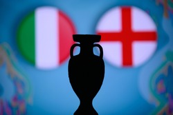 Italy vs England, football final match, soccer trophy silhouette. game in Wembley, London