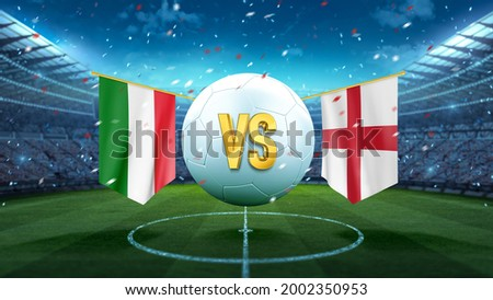 Italy vs England. Soccer concept. White soccer ball with the flag in the stadium, 2021. 3d render