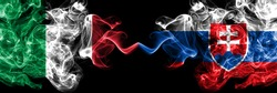 Italy vs Slovakia, Slovakian smoky mystic flags placed side by side. Thick colored silky abstract smoke flags of Italian and Slovakia, Slovakian