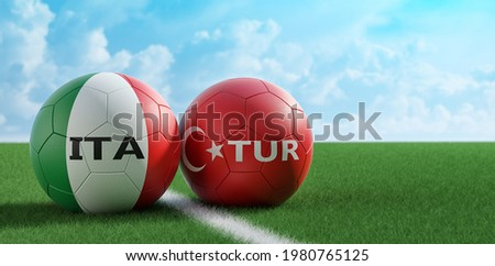 Italy vs. Turkey Soccer Match - Soccer balls in Italy and Turkey national colors on a soccer field. Copy space on the right side - 3D Rendering