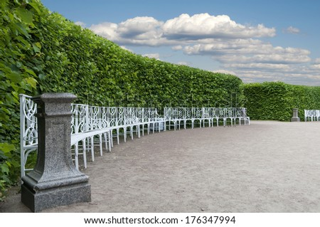 item Park with smoothly trimmed bushes and benches set in a semicircle