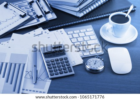 Items for business and accounting in the composition in the office on the table #1065171776