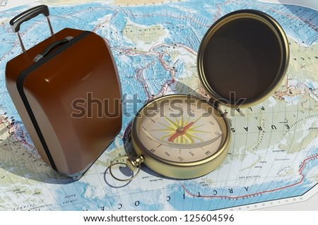 Items for tourism on the world map.