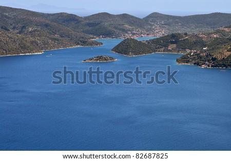 Ithaki island at ionian sea in Greece