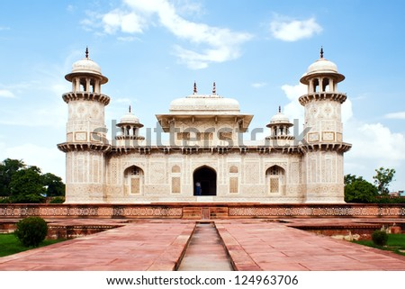 Itimad ud Daulah tomb in Agra in north India in Uttar Pradesh state, also called baby Taj Mahal - stock photo