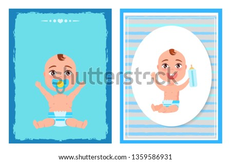 Its a boy posters set with happy infants in diapers holds bottle of milk hand pacifier mouth illustration little children on blue