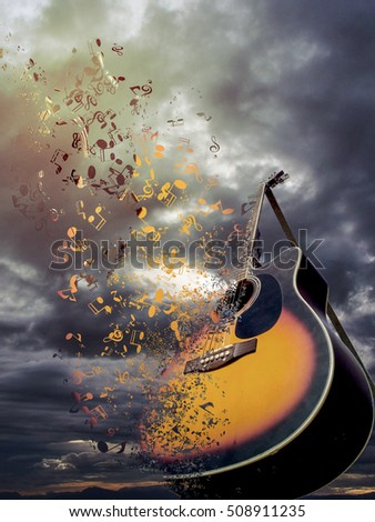 Its a pic of Beautiful guitar, which is scattering in the sky in the form of musical nodes.