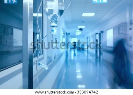 Iv Drip in hospital corridor