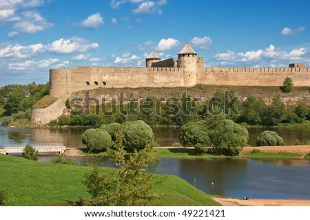 Ivangorod fortress on the border of Russia and Estonia
