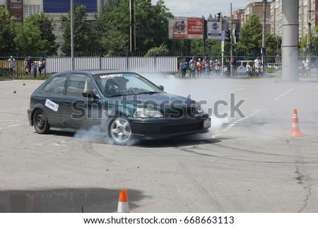 Ivano-Frankivsk, Ukraine - June 24: Car Competition Epicenter Cup, on June 24, 2017 in Ivano-Frankivsk, Ukraine. #668663113