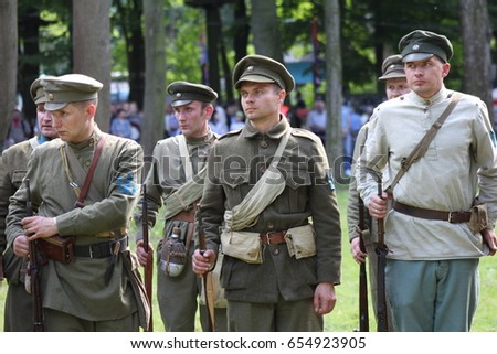 Ivano-Frankivsk, Ukraine - May 29: Reconstruction of the battle between the Red Army and the Polish-Ukrainian Army, on May 29, 2017 in Ivano-Frankivsk, Ukraine. #654923905
