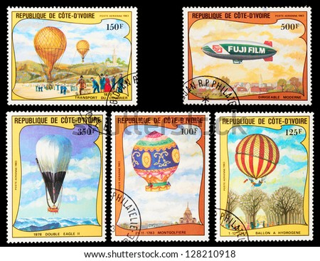 IVORY COAST - CIRCA 1983: A set of postage stamps printed in IVORY COAST shows Balloons and airships, series, circa 1983
