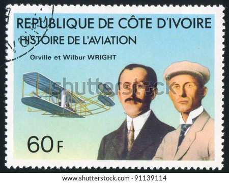 IVORY COAST CIRCA 1977: stamp printed by Ivory Coast, shows Orville and Wilbur Wright, 'Wright Flyer', circa 1977
