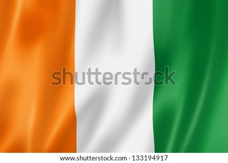 Ivory Coast flag, three dimensional render, satin texture