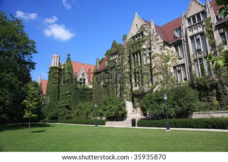 Ivy clad halls of the University of Chicago campus