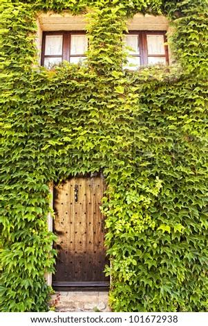 Ivy clad house in Peratallada, Catalonia, Spain
