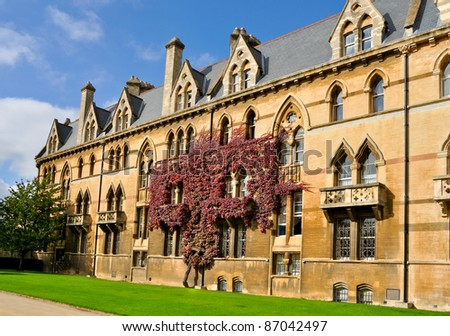 ivy clad wall of Christchurch college, Oxford university