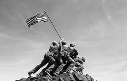 Iwo Jima memorial in Washington DC 2016. Black and white