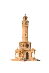 Izmir clock tower isolated on white background - The famous clock tower became the symbol of Izmir