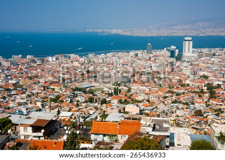 IZMIR, TURKEY - OCTOBER 04, 2014:  Birds eye view with the  Agora, ancient market place in center. Residential buildings, Aegean Sea and ships