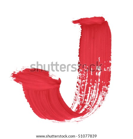 J - Color letters isolated over the white background