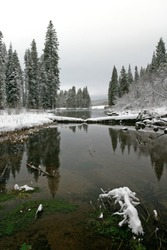 J.F. Kimball State Park and Wood River headwaters in winter, Oregon, USA