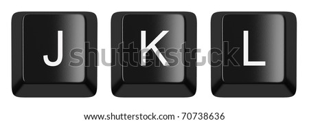 J, K, L black computer keys alphabet isolated on white