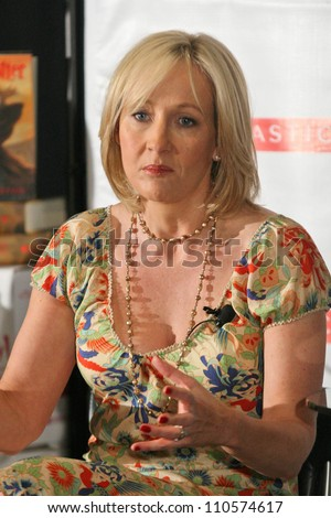 J.K. Rowling at a press conference to promote her \