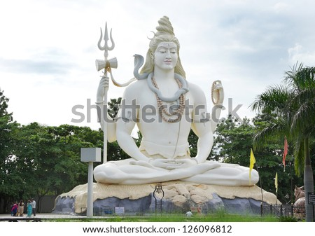 JABALPUR INDIA AUGUST 07 The 76 feet tall Lord Shiva statue on August 07 2012 at Kachnar City Jabalpur India This is one of the tallest statues in India