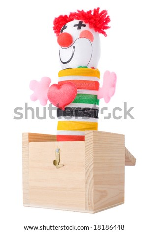 Jack-in-the-box toy isolated on a white background
