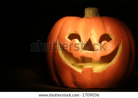 jack-o-lantern against a dark background.