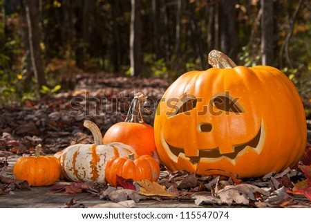 Jack O Lantern and pumpkins on a wood bridge covered with leaves