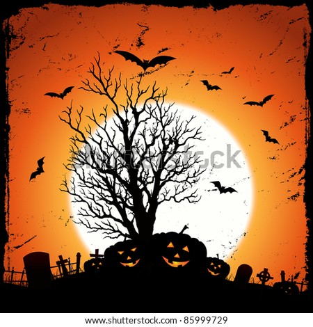 Jack O' Lantern Background/ Illustration of grunge pumpkins for halloween  holidays