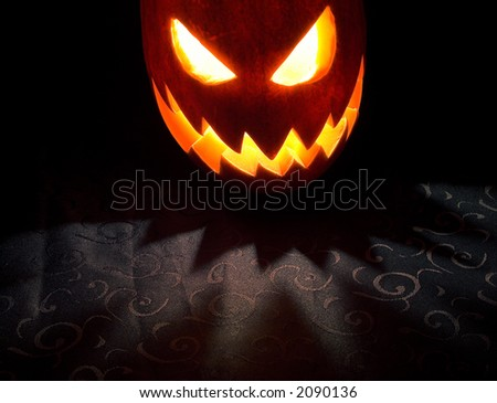 Jack-o-lantern, Halloween pumpkin glowing in the night