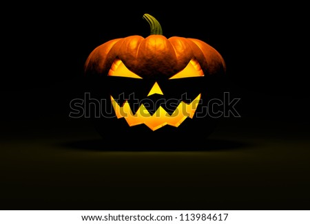 Jack O Lantern halloween pumpkin on black background with light reflection on the floor and copy space. Front view. 3d render