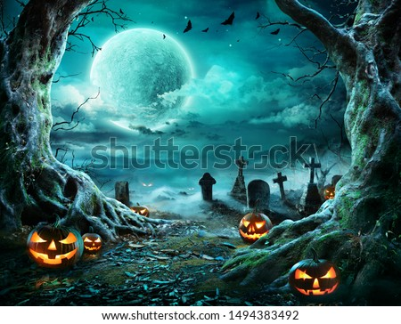 Jack 'O Lantern In Cemetery In Spooky Night With Full Moon - Halloween  #1494383492