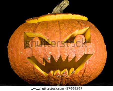 Jack-o-lantern isolated on a black background.Halloween pumpkin.