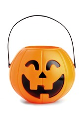 Jack-o'-lantern, jack o'lantern, pumpkin toy basket for Halloween seasons.plastic pumpkin, trick or treat, seasonal celebration.