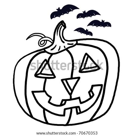 Jack O Lantern Outline Drawing; Pumpkin And Bats Illustration For Halloween