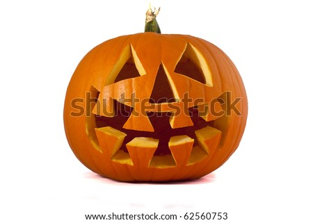 Jack O Lantern pumpkin Isolated on white.