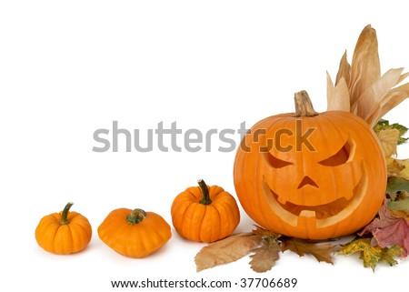Jack-o-lantern, small pumpkins and foliage adorn the white copyspace