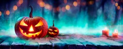 Jack O' Lanterns In Spooky Forest With Mist And Candles - Halloween Background With Colors Trend