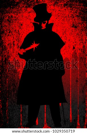 Jack the Ripper over a red grunge background